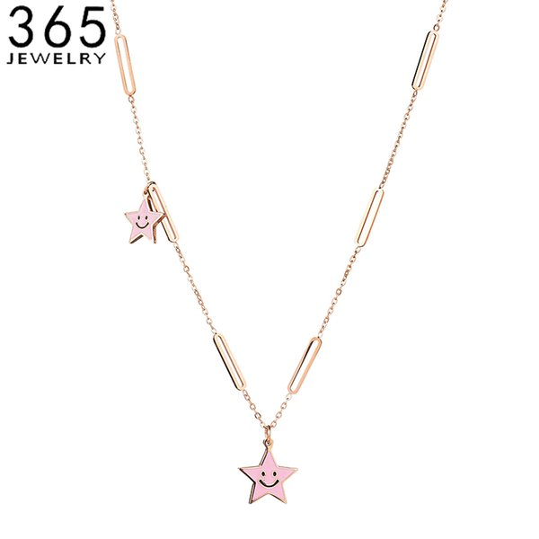 2018 Hot Sale Stainless Steel Cute Star Necklace Simple Chain Smiley Face Necklace For Best Friend Gift