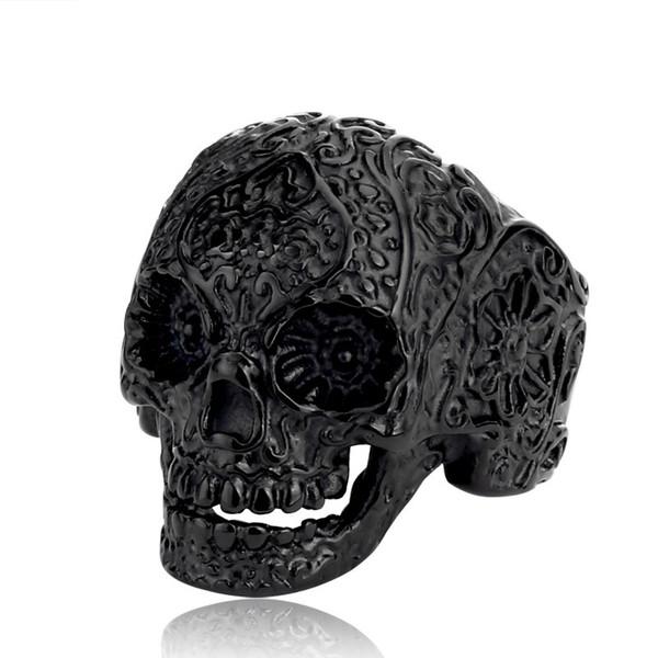 Men Stainless Steel Skull Ring for Men Women Classic Garden Flower Skull Ring Skeleton Jewelry Anel Masculino Bague Femme