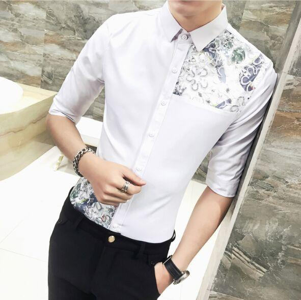 New Lively Trend Classic Men's Clothing Male Fashion slim printing Lace Decorate Half sleeve Shirts Man Non-mainstream Tops M-3XL