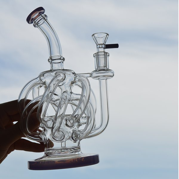 Super Vortex Recycler Glass Water Bongs Dab Rig 12 Recycler Tube Water Pipe 14.4mm Joint with Glass Bowl Oil Rigs 2 Colors