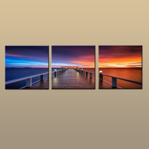 Framed/Unframed Hot Modern Contemporary Canvas Wall Art Print Painting Sunset Glow Seascape Beach Dock Picture 3 piece Living Room Home Deco