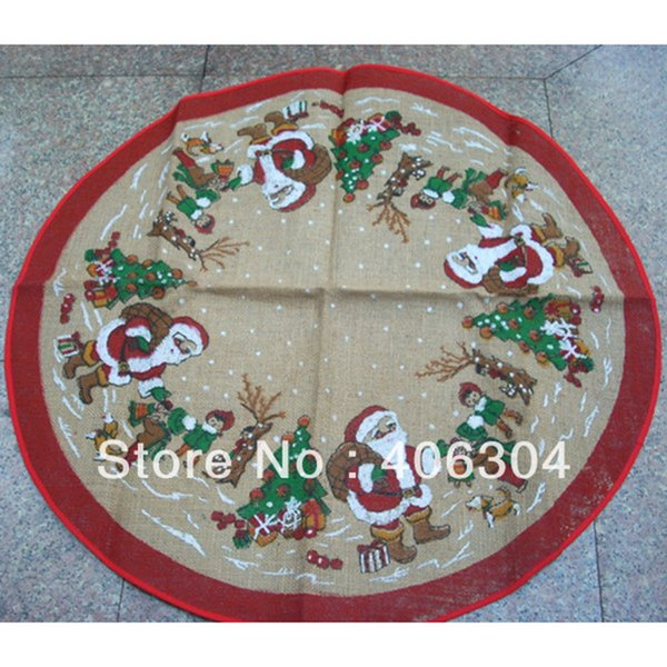 "Free shipping ,Christmas ornament item,100cm(39"") jute round Christmas santa claus table cover table cloth"