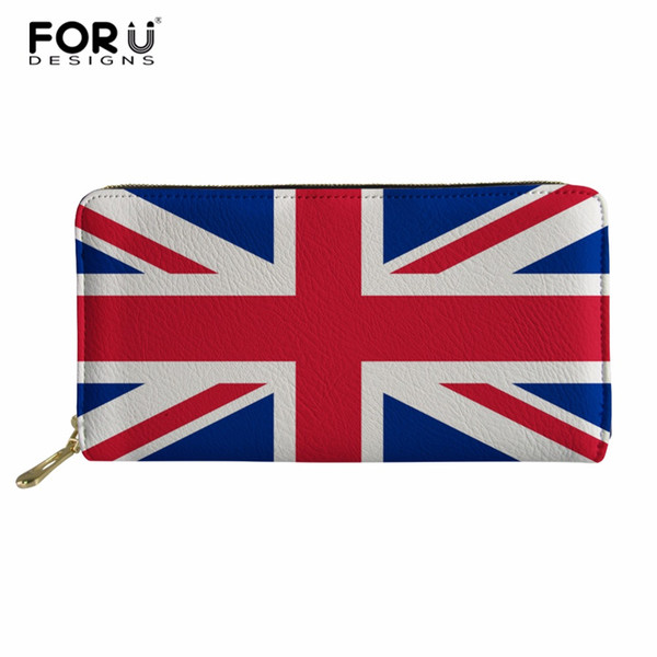 FORUDESIGNS Fashion US/USA Flag Women Wallets PU Leather Zipper Wallet Women's Long Design Purse Clutch Custom Money Bag