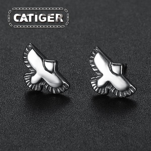 Free Shipping! Punk Eagle Stud Earrings 316L Stainless Steel Flying Hawk Feather Bird Animal Stud Earrings