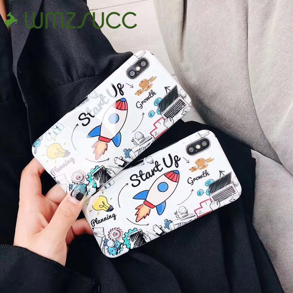 wholesale Cartoon Rocket Start Up Soft Phone Fitted Case Back Cover Shell for iPhone X 8 8P 7 6 6s Plus Drop Shipping