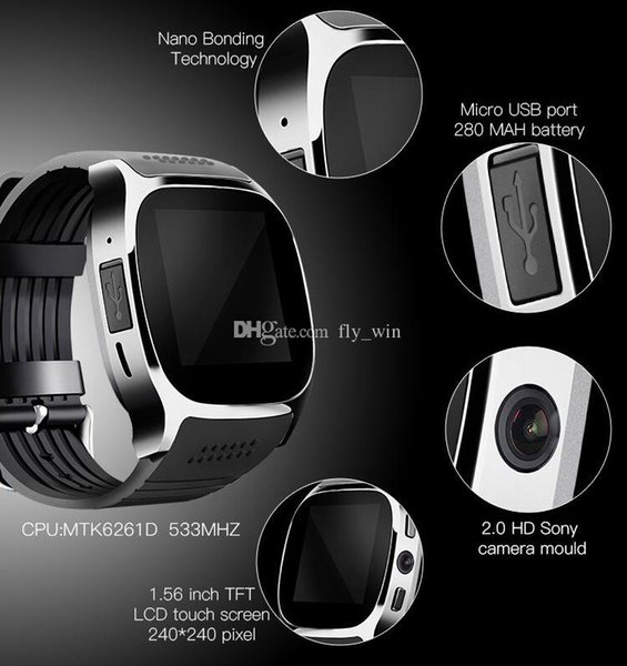 Newest SmartWatch T8 Bluetooth Smart Watch For Android Support Positioning Pedometer SIM TF Card With Camera Sync Call Message SmartWatch