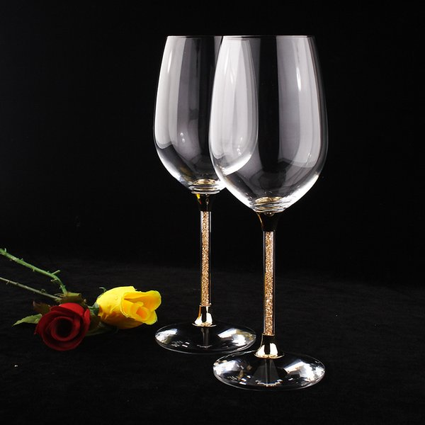 wine champagne glasses Glassware clear crystal drinking glasses with gold color stem white wine 2PCS coupe champagne