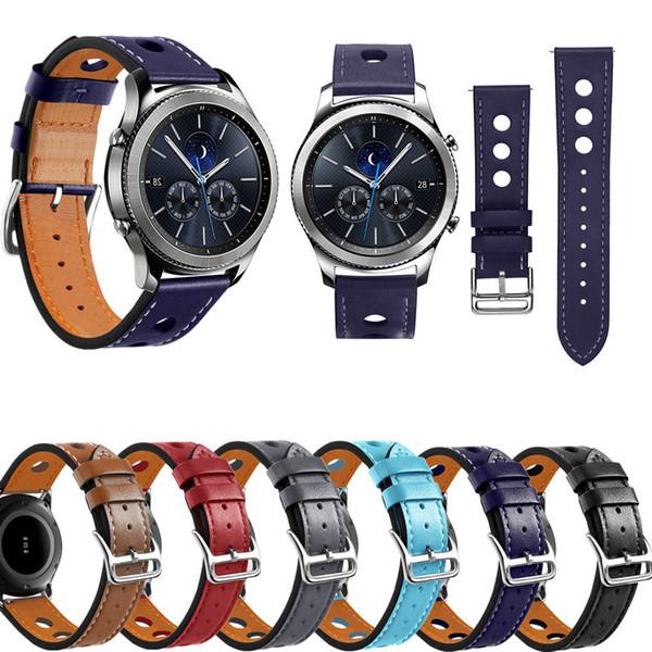 ASHEI Hole Style Bracelet En Cuir Pour Samsung Gear S3 Bande En Cuir 22mm Montre Accessoires Bracelets Repalcement Bandes pour Gear S3