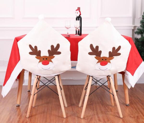 Copricuscino alce bianco ricamato copricapo natalizio cappello forma copri sedia copricapo natalizio per feste decorazione domestica 50 * 60 cm