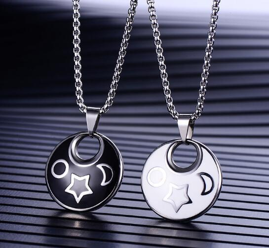 free shipping Stainless steel drop glue lovers necklace titanium steel fashionable round black and white dichromatic pendant does not fade p