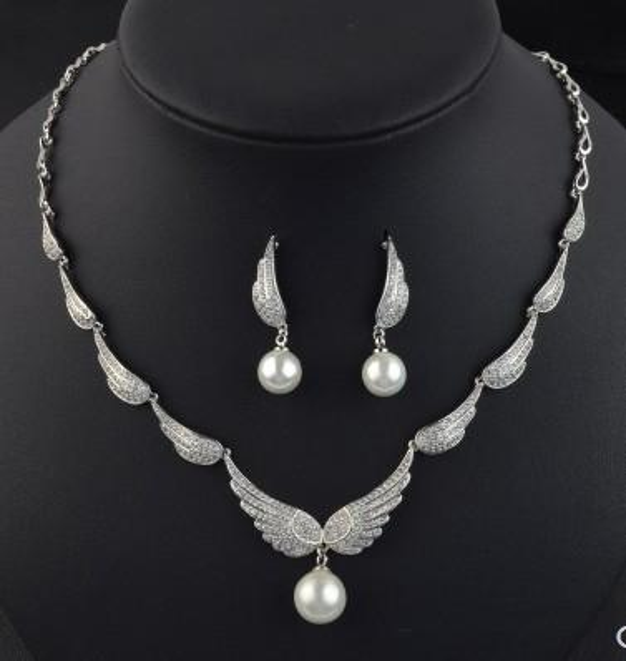 wonderful diamond crystal stone wing bride wedding jewelry set necklace earings (vlin123)