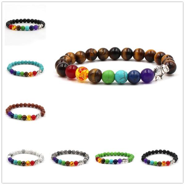 Men Women Elephant Charms 7 Chakra Mixed Stone Healing Chakra Pray Bracelet Lava Rock DIY Beads Jewelry Balancing Bracelets