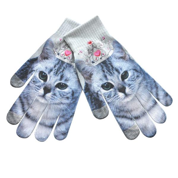 Erkekler Kadınlar Kış Sıcak 3D Baskı Örme Telefon Ekran Kitty Pet Sevimli Eldiven 9.5