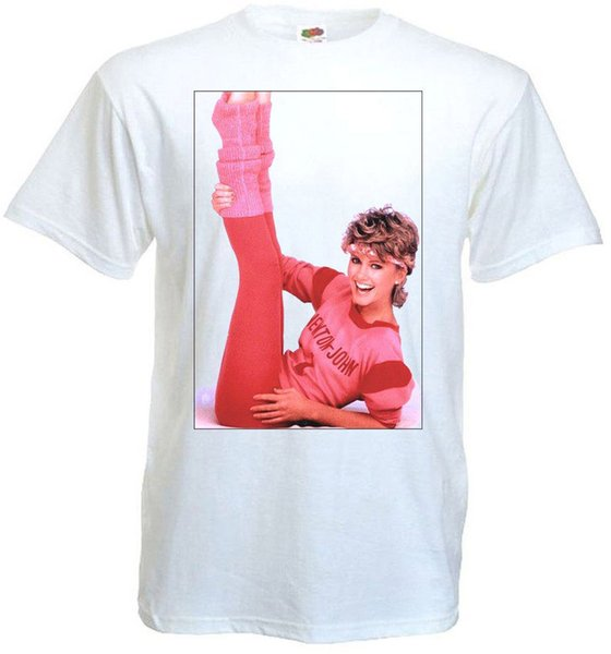 Cartoon Hip Hop Shirt O-Neck Men Short Sleeve Office Olivia Newton-John V2 T-Shirt White Poster All Sizes S To 3XL Tee