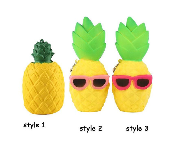 12CM Cute Soft Squishy Pineapple Jumbo Phone Strap Charm Simulation Fruit Slow Rising Squeeze Stretch Scented Bread Kid Toy Gift