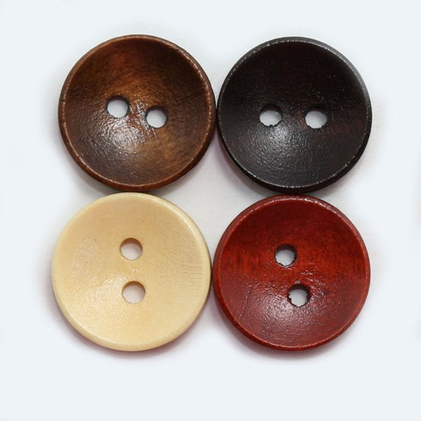 best selling Meetee wholesale all sizes multicolor natural bowl button 2-hole round pure wooden buttons for coat shirt buttons bags DIY C1-25