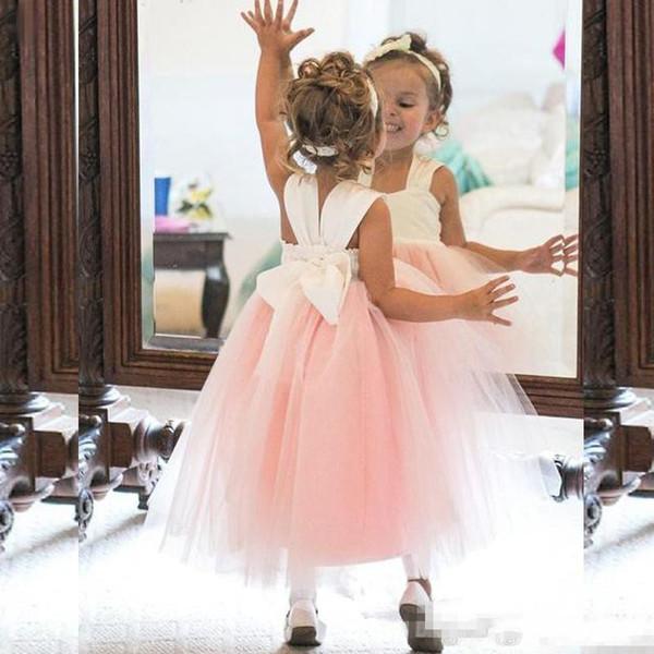 2018 Sevimli Çiçek Kız Elbise Prenses Fildişi Beyaz Işık Pembe Düğün için Kabarık Tül Örgün Törenlerinde Ayak Bileği Uzunluk Kız Giymek