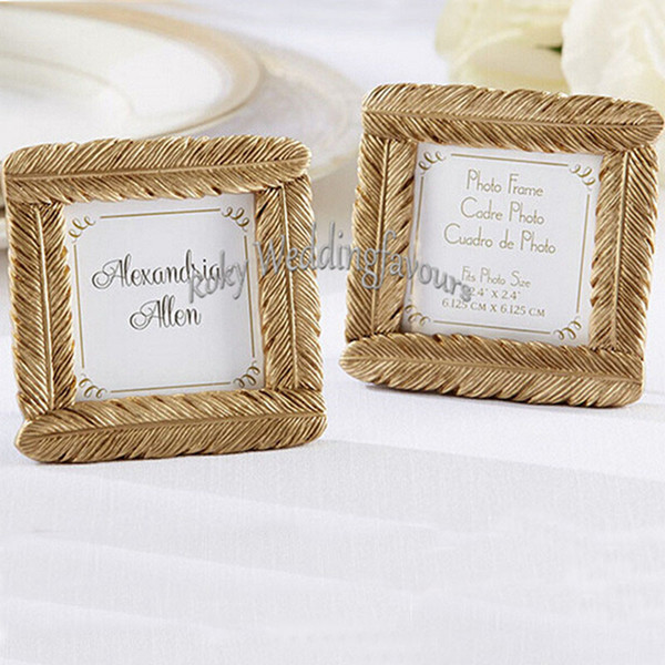 Free shipment 30PCS Gold Resin Feather Mini Photo Frame Place Card Holder Wedding Favors Party Decor Event Gift Anniversary Supplies