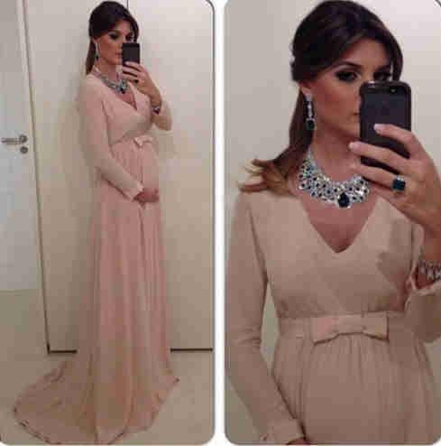 2019 Chic elegant A-line mother of the bride dresses plus size Cheap sweep train Maternity long Sleeve Chiffon Summer Pregnant Bridal Gowns