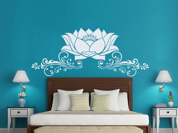 Free shipping Lotus Flower Wall Stickers Removable Interior Houseawre Bedroom Vinyl Decal Art Mural Beautiful Lotus PVC Design