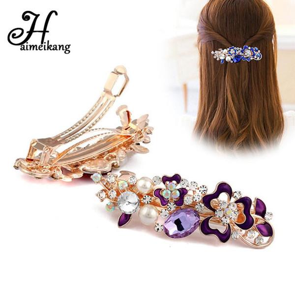 2018 New Crystal Flower Hair Clip Hairpins for Women Fashion Rhinestone Pearl Clips Headwear Girls Hair Accessories