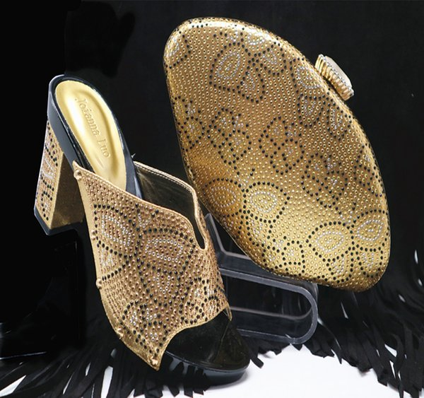 Gold Color For African Women Shoes And Bags Set Shoes With Matching Bags For Women New Arrivals Shoe And Bag Set Purple Shoes Ladies Footwear From