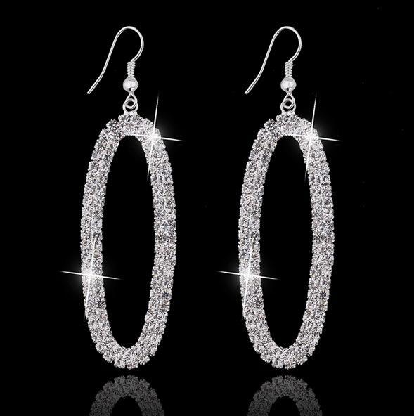 Ohrringe Hoop für Frauen Korean Modeschmuck Versilbert Zirkonia Runde Tropfen Diamant Ohrringe Hängende Vergoldete Creolen