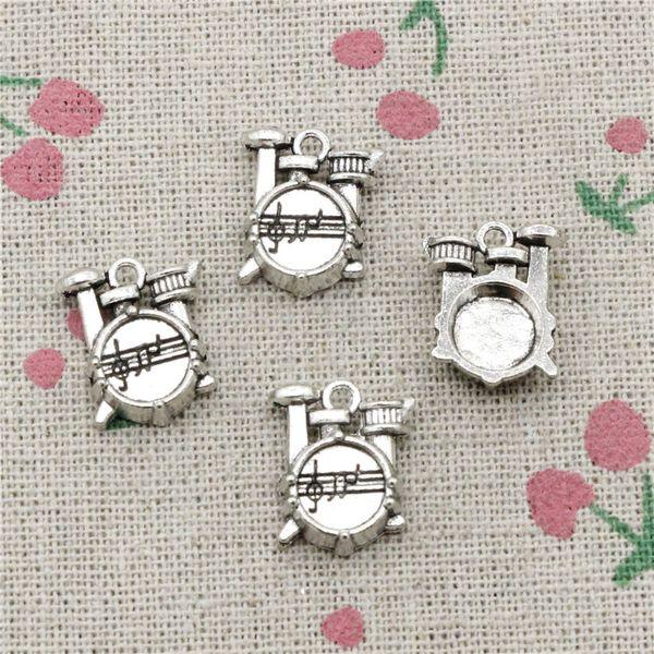 17pcs Charms Drum Kit 16*14*4mm Tibetan Silver Vintage Pendants For Jewelry Making DIY Bracelet Necklace