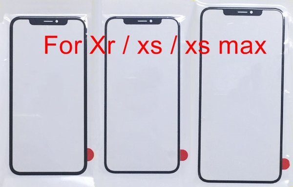 Black Top Front Outer Glass Lens for iPhone Xs Max Xr Glass Screen Panel ( not touch screen digitizer lcd display ) free DHL