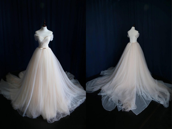 Charming Champagne Wedding Dress Cheap 2019 Off the shoulder with Short sleeves Tulle Organza A line Ribbon With Bows Real Photo Designer