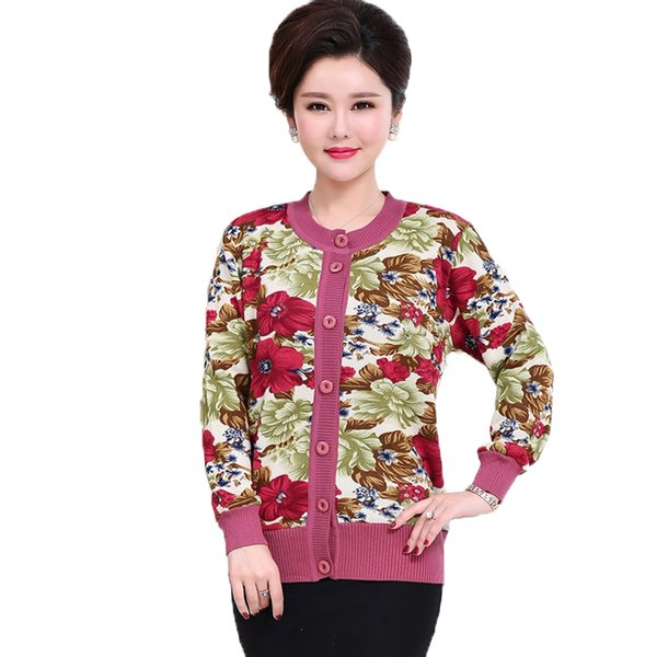 WAEOLSA Winter Woman Flower Cardigan Sweaters Middle Aged Womens Thicken Fleece Knitwear Lady Knitted Cardigan Sweater Warm Top
