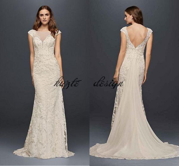b0ca43a3494 Illusion Lace Crystal Mermaid Wedding Dresses 2018 Modest Wonder by Jenny  Packham Backless Cap Sleeve Princess