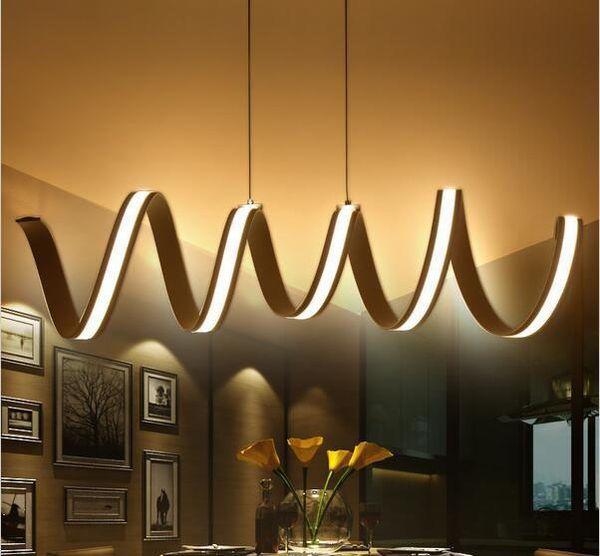 Nouveau L600 / 900 / 1200mm Moderne aluminium LED Lustres lumière pour Salle à Manger Salle de Cuisine suspension luminaire suspendu Pendentif Luminaire Luminaire