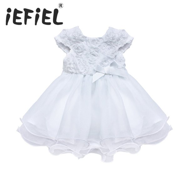 iEFiEL Fashion Formal Newborn Lace Tutu Dress Baby Girls Flower Pattern For Toddler 1 Years Birthday Party Baptism Dress Clothes