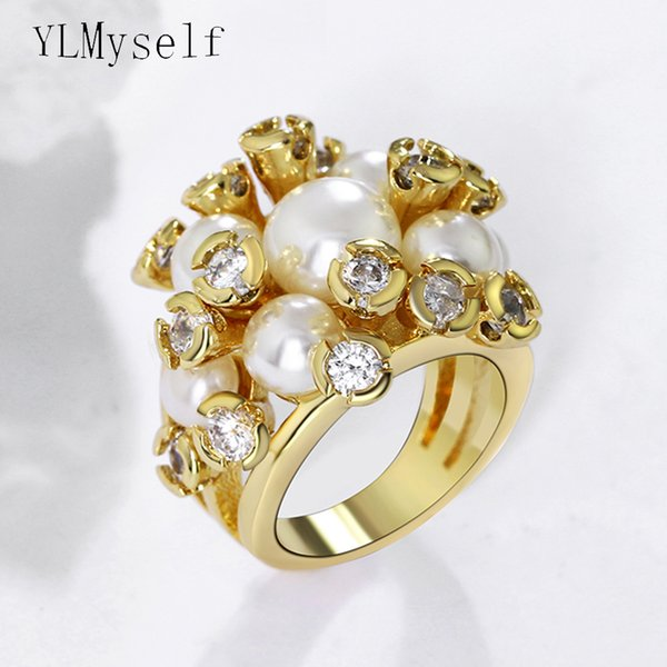 New Latest trendy ring white pearl wholesale jewelry best gift for women High quality crystal CZ flower Rings