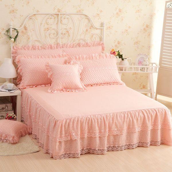 Black Bed Skirt King Size.Cotton Princess Lace Bedding Set Twin Full Queen King Size Bed Skirt Set Decorative Pillowcases Pink Beige 3 Bed Sheet Grey Bedskirt Black Bedskirt