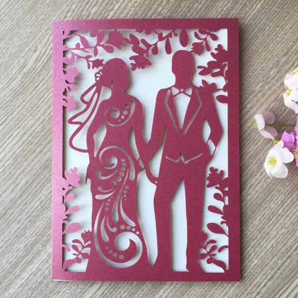 Multi Color Laser Cut Wedding Invitations Card Couple Pattern Wedding Anniversary Celebration Party Favor Free Greeting Cards Birthday Free Greeting