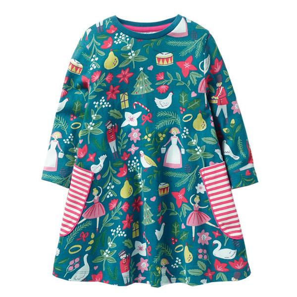 Everweekend Kids Girls Christmas Cute Baby Dress Cartoons Ruffles Western Autumn Pockets Green Color Sweet Girls Dress