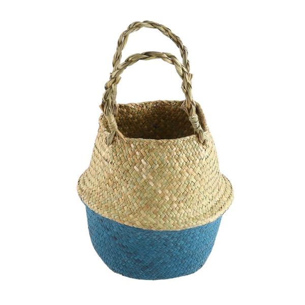 New Women's Bag Foldable Natural Straw Woven Totes Bag Shopping Flower Basket Handmade Hanging Basket For Women ZM1458201