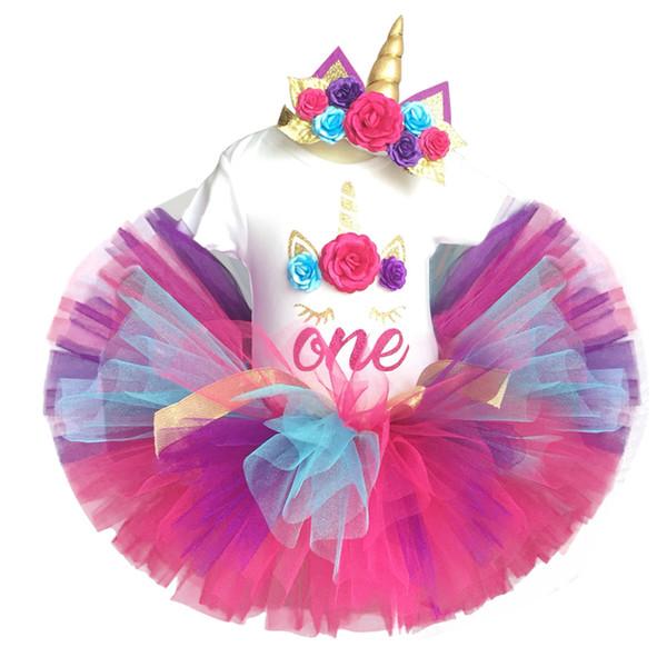 Bebek Kız Unicorn Kostüm Renkli Çiçek Elbise Için Parti ve Düğün Yürüyor Kızlar Bebek İlk 1st Doğum Günü Kıyafetleri 12 M