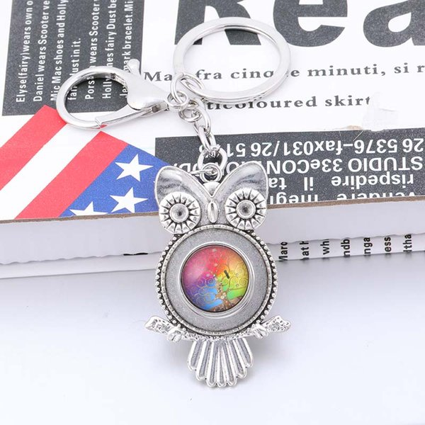 New metal owl pendant key chain can be equipped with 18mm snap men and women fashion jewelry random gift 1 glass snap buttonB149