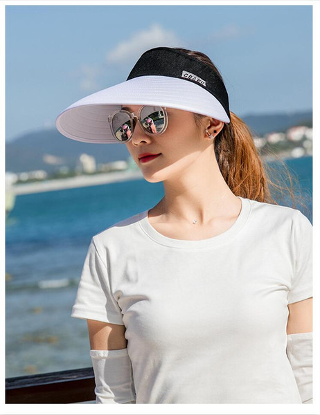 top popular Wholesale Summer sports simplified design Big eaves Empty top Sunscreen Outdoor special sunless hat folding Cycling sun shading fashion hat 2020