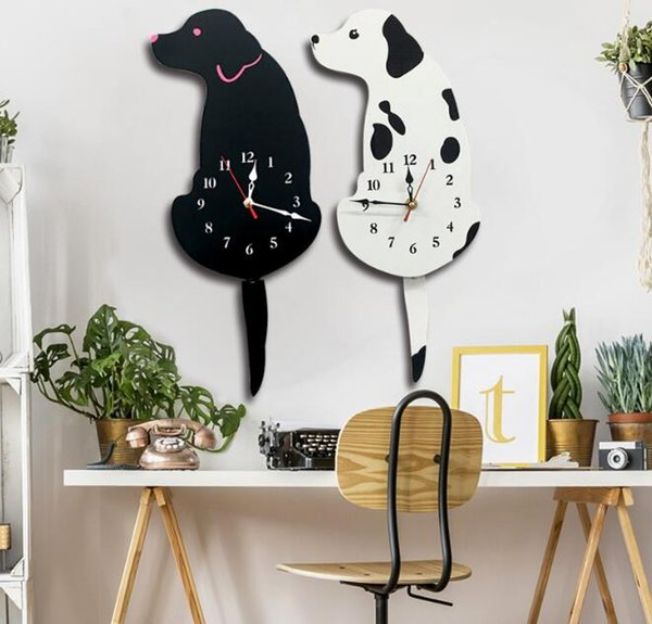 Acrylic Cartoon Tail Wagging Animal Wall Clock Cute Lovely Dog Cat Wall Clock Home Decor Watch Way Tail Move Silence Wall Clock