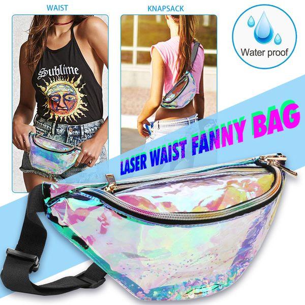 Fashion Bling Quicksand Laser Hologram Shiny PVC Transparent Waterproof Waist Bag Beach Fanny Pack Zipper Phone Case With Belt Opp Aicoo