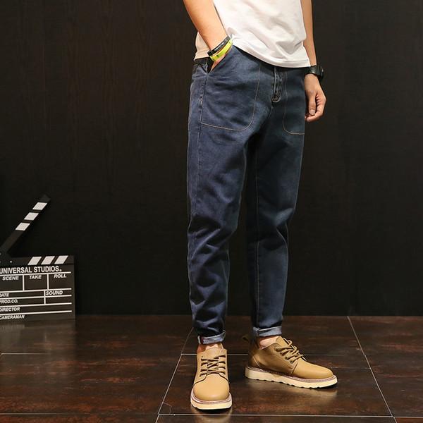 Plus Size Vintage Solid Color Ankle-Length Jeans Man Cuffs Plus Size Blue Denim Pants Mens Trousers 2018 Male Clothes RMP175032