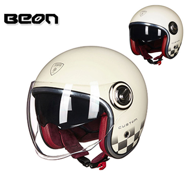 2018 Vintage BEON B108A Jet Motorcycle 3/4 Open Face Half Helmet Scooter Motorbike Chopper Harley Helmet Riding Racing Headgear