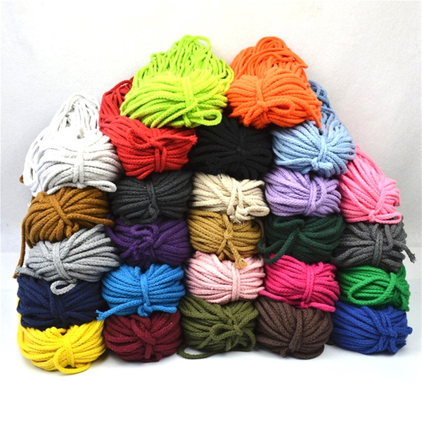 top popular 5mm*100yards Colorful White Cotton Cord Natural Beige Twisted Cord Rope Craft Macrame String DIY Home Decorative supply 2021