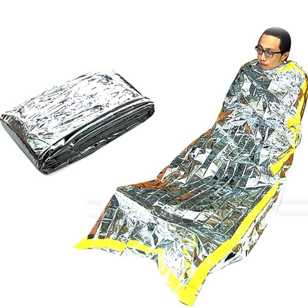 Открытый коврик для выживания Коврик из фольги Тепловое пространствоПредохранительное одеяло для выживания в тепле Спальный мешок Аварийное укрытие