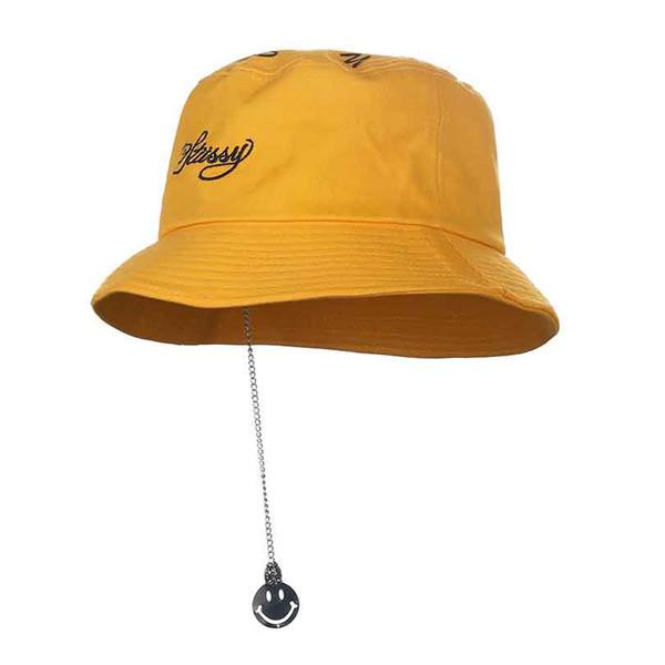 5e126b263f3 design bucket hats Promo Codes - Metal Smile Pendant Design Men s Bucket hat  hip hop Boonie