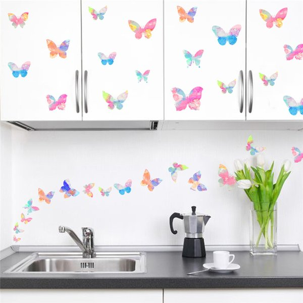 utterfly wall Colorful Flying Butterfly wall sticker decal girl women bedroom Living Room kids Children room nursery party mural Poster d...